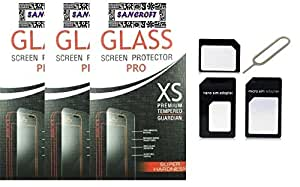 Asus Zenfone 3 Curved Tempered Glass Pack of 3 with Sim Adapter