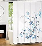 Tahari Luxury Cotton Blend Shower Curtain Printemps Turquoise Blue Grey Floral Branches