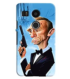 Omnam Man With Gun In Cartoon In Pause Printed Designer Back Cover Case For Google Nexus 5 X