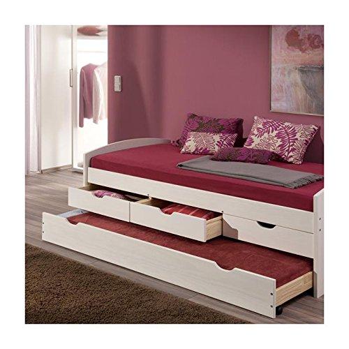 Lit gigogne rangements et tiroir-lit JULIA, 90 x 200 cm pin massif lasuré blanc