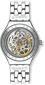 Swatch - YAS100G - Body & Soul - Montre Mixte - Automatique Analogique - Cadran Squelette - Bracelet Acier Argent