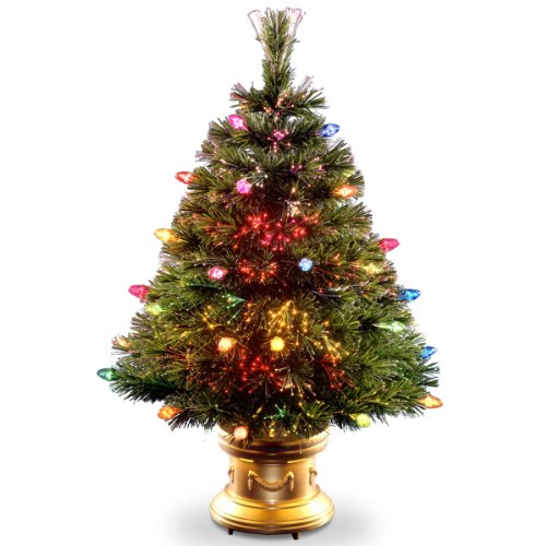 National Tree Szfc7-100R-36-1 Fiber Optic Tree With Multi Faceted Bulbs And Gold Revolving Led Base, 36-Inch