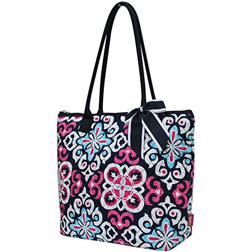 Ngil Quilted Cotton Owl Medium Tote Bag II (Geometric Floral Navy Blue) (Quilted Zipper Tote compare prices)