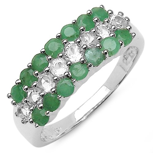 1.62 Carat Genuine Emerald  &  White Topaz Sterling Silver Ring