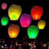 10pcs Chinese Sky Fly Fire Lanterns Wish Party Wedding Birthday Multi Color