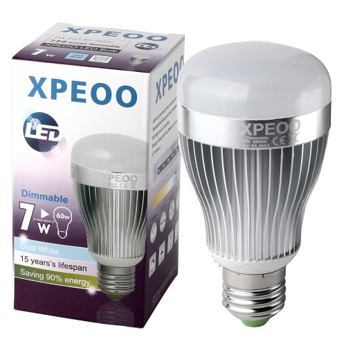 Xpeoo® Dimmable 13W(95W) 10W(75W) 7W(60W) Led Household A19 Daylight White 5500-6000K Light Bulb, Energy Saving Lamp(Effect Of Philips) (720Lm/7W=60W)
