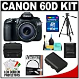 Canon EOS 60D Digital SLR Camera Body with EF-S 18-135mm IS Lens + 16GB Card + Battery + Case + Tripod + Accessory Kit ~ DMCN