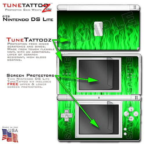 nintendo ds lite fire green on black tune tattoo skin kit by tunetattooztmb000mby2tc best buy. Black Bedroom Furniture Sets. Home Design Ideas