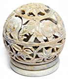 Artist Haat Valentine's Day gift Soapstone Tealight / Candle Holder - Votive Candle Holders Stone Sculpture - Decorative Lamp / Lantern with Intricate Floral Work on Sides and a Rosette on the Top 3''