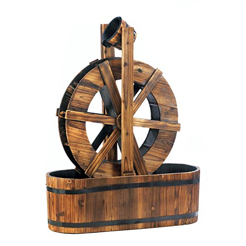 Spinning Wood Outdoor Water Mill Fountain (Water Fountain Wheel compare prices)