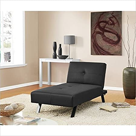 DHP Wynn Convertible Faux Leather Chaise Lounge in Black