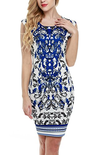ANGVNS-Ladies-Patterned-Stretch-Slim-Stretchy-Bodycon-Cocktail-Party-Dress