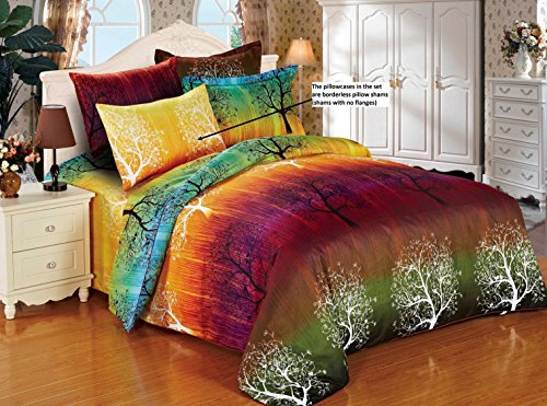 Rainbow Tree 3pc Duvet Cover Set: Duvet Cover and Two Matching Pillowcases (King)