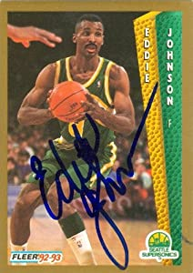 Eddie Johnson Autographed Hand Signed Basketball Card (Seattle Sonics) 1992 Fleer... by Hall of Fame Memorabilia