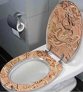 Asian Flying Dragon Bathroom Resin Hard Toilet Seat