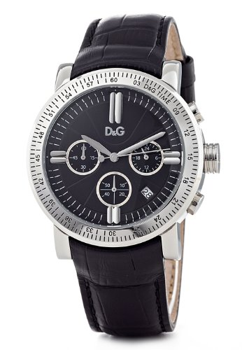 D & G Mens Watch DW0486 Genteel with Black Leather Strap and Black Dial