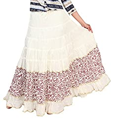 Carrel Fancy Imported Cotton Fabric Bottom Printed Cream & Maroon Colour Free Size Women Long Skirt.