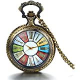 """JewelryWe Christmas Gift Retro Wheel Roman Numeral Steampunk Quartz Pocket Watch Pendant Long Sweater Necklace 30"""" Chain (with Gift Bag)"""