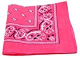 Bandanas by the Dozen (12 units per pack, 100% cotton) (Dozen-Hot Pink Paisley)