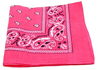 "Bandanas By The Dozen 100% Cotton, Head Wrap 22"" x 22"" (Hot Pink, 22"" X 22"")"