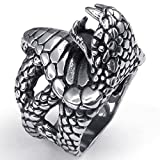 Beydodo Stainless Steel Ring (Punk Bands) Biker Black Snake Gothic Silvery Retro Size 12 For Men