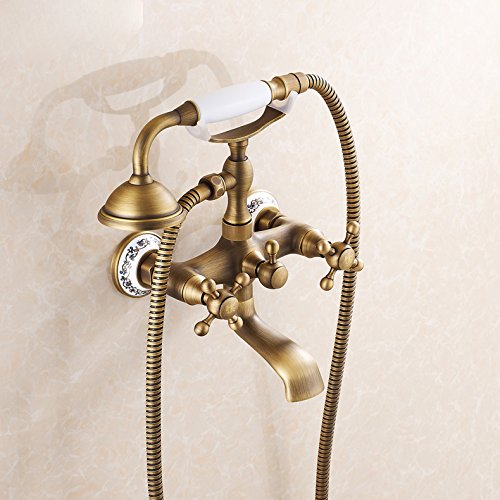 Swivel Spout Tel Shape Bathtub Faucet Antique Brass Mixer Tap With Hand Shower front-480160