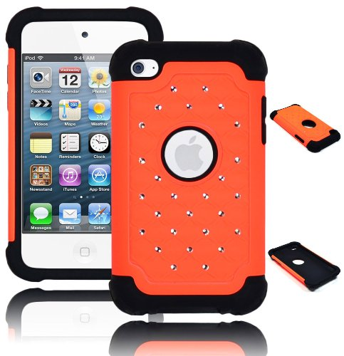 Bastex Heavy Duty Hybrid Case For Touch 4, 4Th Generation Ipod - Black Silicone With Orange Diamond Crystal Bling front-363888
