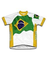 Brasil Flag Short Sleeve Cycling Jersey for Women