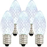 Holiday Lighting Outlet LED C7 Cool White Replacement Christmas Light Bulbs, Commercial Grade, 3 Diodes (Led's) in Each Bulb, Fits Into E12 Sockets, 25 Bulb Count