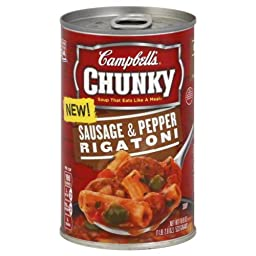 Campbell\'s, Chunky Soup, Sausage & Pepper Rigatoni, 18.8oz Can (Pack of 3)