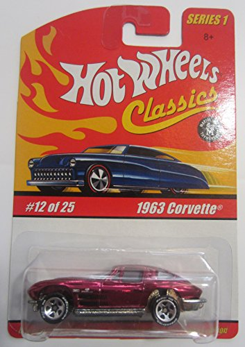 Hot Wheels Classics Series 1 - Magenta 1963 Corvette 12 of 25 - 1