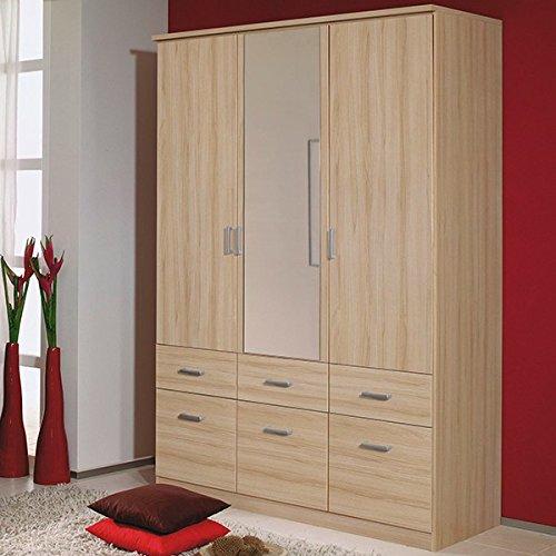 Kleiderschrank beige 3 Türen B 136 cm buche natur Schrank Drehtürenschrank Wäscheschrank Spiegelschrank Kinderzimmer Jugendzimmer jetzt bestellen