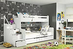 Brand New Kids Children Bunk Bed Bed Max 3 in White with Mattresses Storage sold by Arthauss