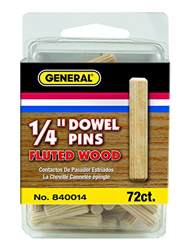 General Tools 840014 1/4-Inch Fluted Wood Dowel Pins, 72-Pack (Wood Dowel Pins 1 4 compare prices)