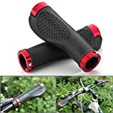 NSSTAR 2X Shock Resistance Ergonomic Design Durable Black TPR Rubber Bicycle MTB XC FR Handle Bar Red Anodized Aluminum Ends Plug Hand Grips Fit 3/4