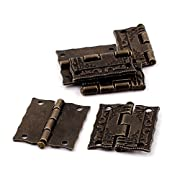 uxcell Case Jewelry Box Antique Style Butt Hinges Bronze Tone 6 pcs