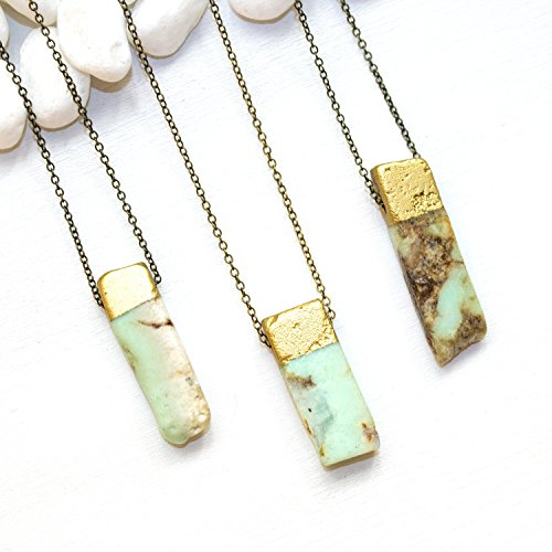Mint Green Stone Necklace - Raw Australian Chrysoprase Simple Cute Trendy Marble Gemstone Healing Jewelry - 26 inch chain - Handmade gift