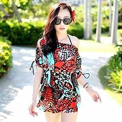 Krivani Women's Beach Wear (BW111_Black_MEDIUM)
