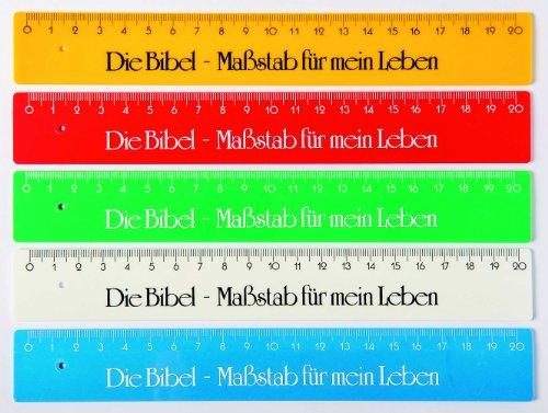 """°°1536 Lineal GELB """"Die Bibel - Maßstab für mein Leben"""", 20 cm Volltonfarben"""
