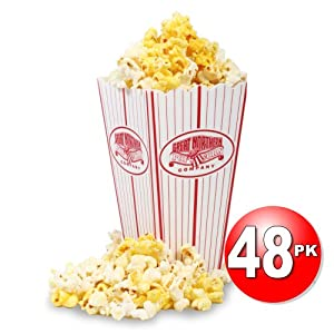 Great Northern Popcorn (48) Premium Plastic Popcorn Holder Serving Boxes