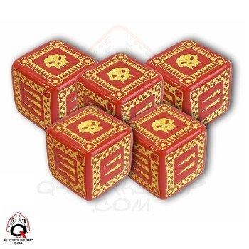 Q-Workshop cinque: d6-Black Dice ORC Battle & Yellow, colore: Rosso