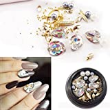 Cattie Girl 13 boxes Nail Stone Japanese Nail Deigns Agate Rhinestone Decoration Tips Nail Art Crystal Holographic AB Chameleon Deco for UV Gel (Color: 1)