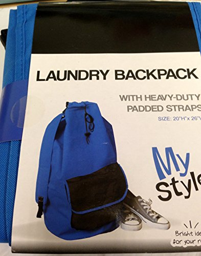 Heavy Duty Laundry Backpack With Padded Straps - Blue With Black Pocket front-477273