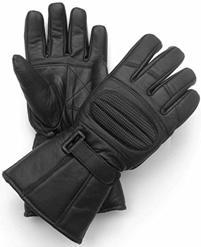 LEATHER GLOVES GAUNTLET for BIKER MOTORCYCLE SCOOTER HEAVY