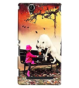Clarks Girl With White Dog Hard Plastic Printed Back Cover/Case For Sony Xperia T2 Ultra