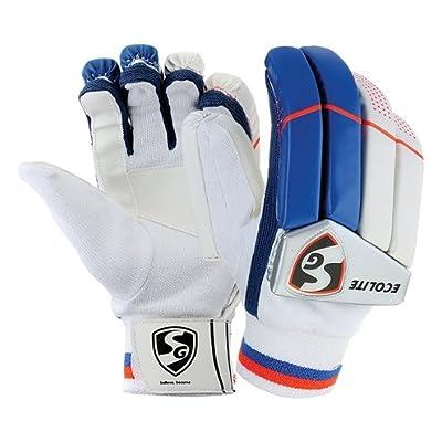 SG Ecolite Left Hand Batting Gloves-Mens (White/Blue/Orange)