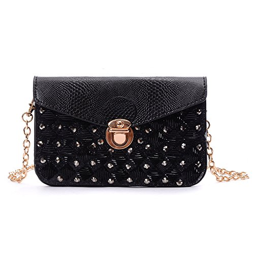 YOUNA Ladies Leather Envelope Style Studded Square Circle Clutch Gold Metal Chain Handbag Black