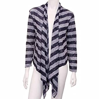 Luxury Divas Striped Navy Blue Long Sleeve Flowing Shrug Sweater Size Small