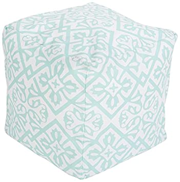 Surya POUF-312 100-Percent Polyester Pouf, 18-Inch by 18-Inch by 18-Inch, Mint/Ivory