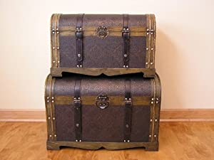 Antique Victorian Wood Trunk Wooden Treasure Hope Chest Set of 2